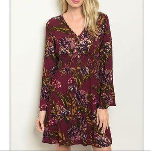 Burgundy + lilac V-neck floral print shift dress